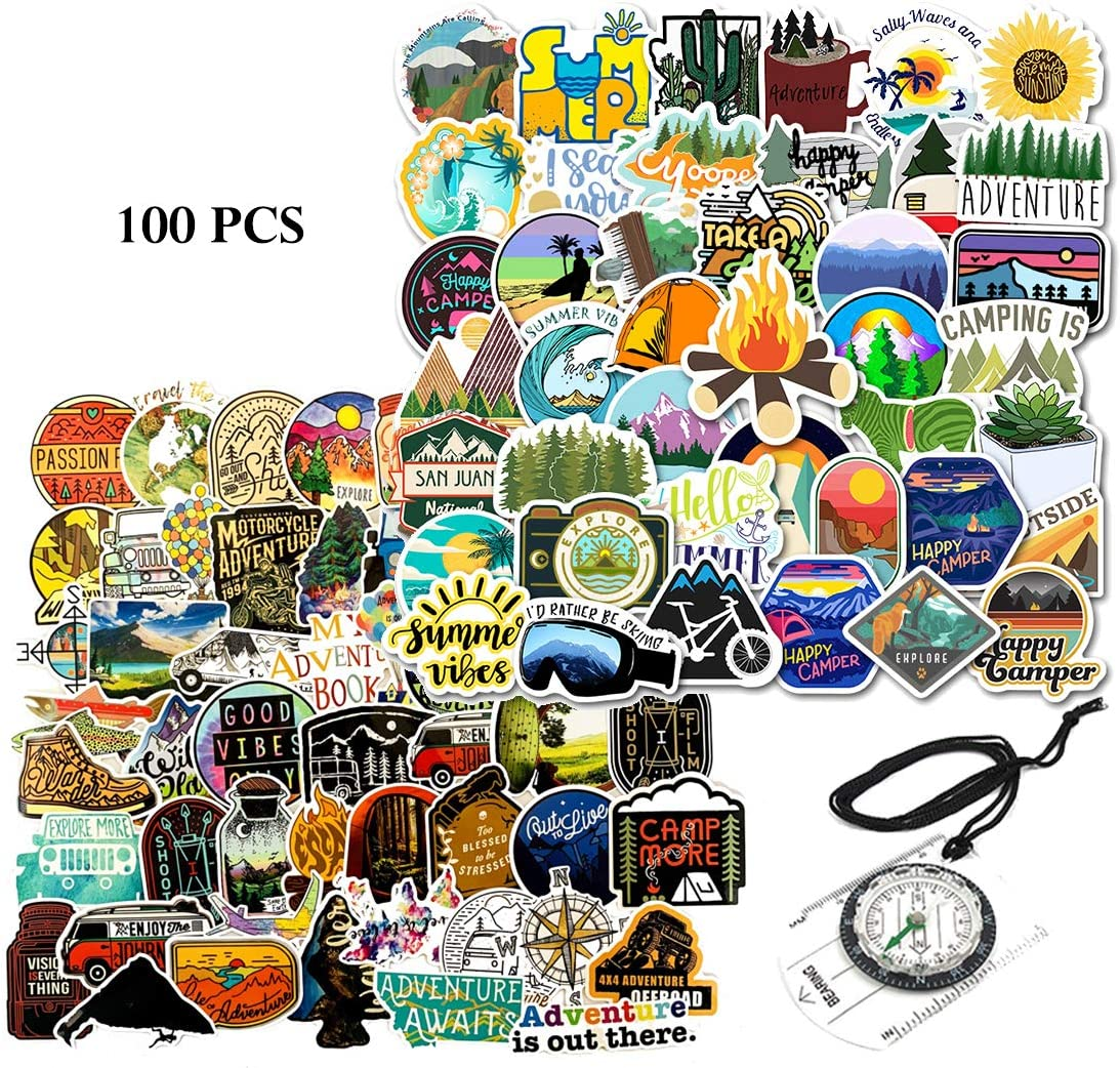 Kilmila Outdoor Adventure Stickers 100Pcs (with Orienteering Compass). Camping Gadgets Wilderness Nature Stickers Hiking Camping Travel Laptop Car Bumper Helmet Luggage Skateboard.