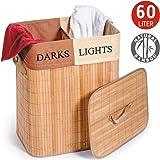 Tatkraft Fortuna Panier a Linge Rectangulaire Bambou avec Sac à Linge en Coton 2 sections Lights and Darks 60L 42X30X50H cm