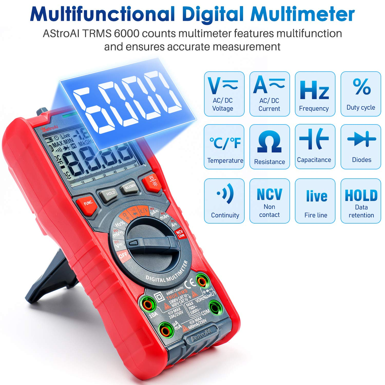TRMS Digital Multimeter 6000Counts AC//DC Auto Range Voltage Current Meter Tester