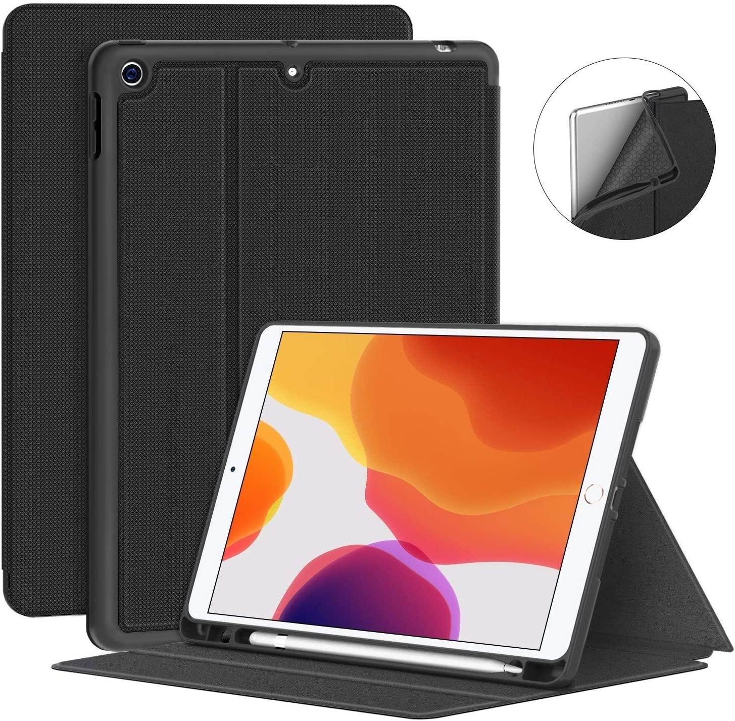Supveco New iPad 8th Generation Case/iPad 7th Generation Case - Premium Shockproof Case with Auto Sleep/Wake Feature for iPad 10.2 inch 8th Generation/7th Generation (Black)