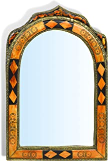 MAISON ANDALUZ Small Ornate Arch Moroccan Mirror With Diamonds Insert    Orange Henna   H31 W21