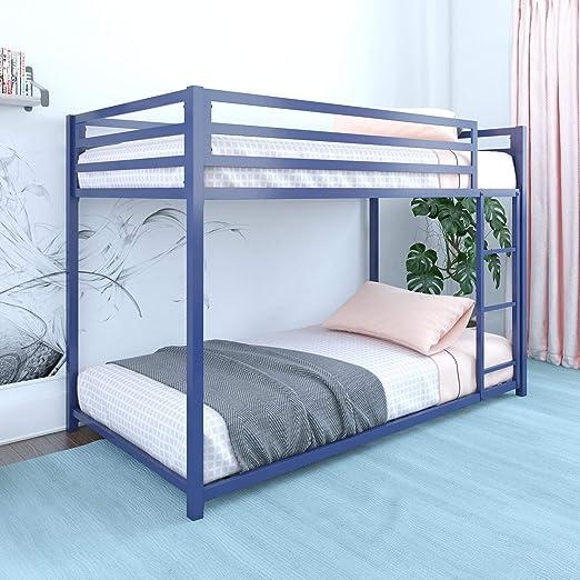 DHP Miles Twin Metal Bunk Bed, Kid\'s Bedroom, Space-Saving Design, Blue,  Twin/Twin