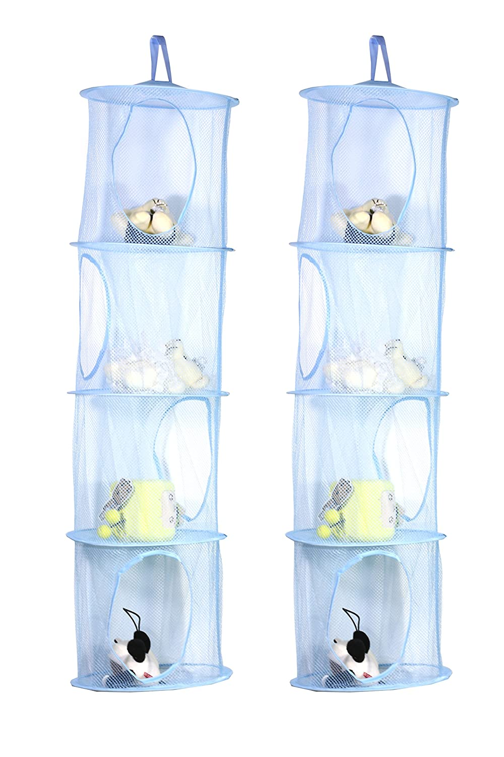 TIRSU Mesh Hanging Storage Organizer toy storage space saver bags 3 Compartments for kid room blue 2pieces lz0001-blue