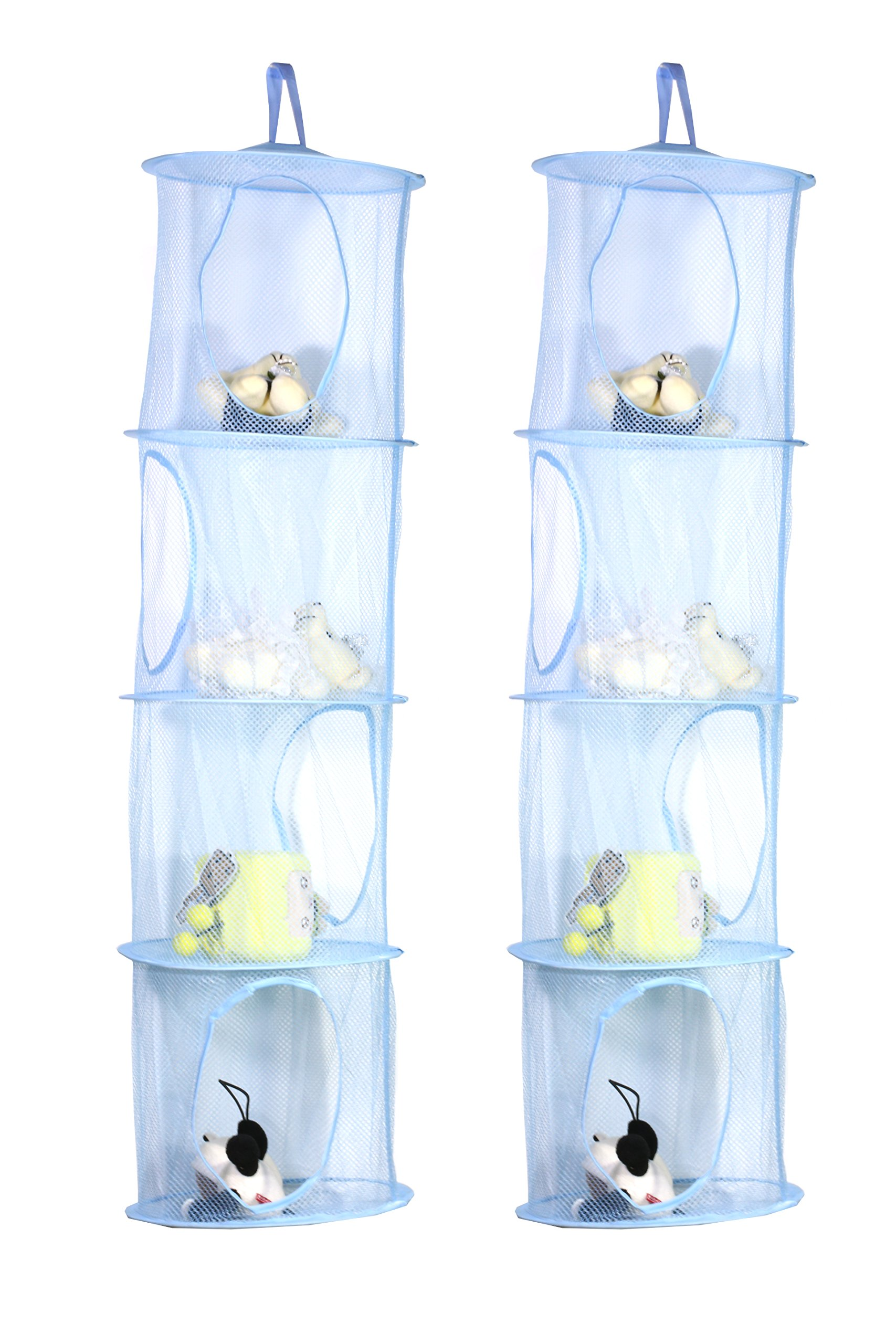 TIRSU Mesh Hanging Storage Organizer toy storage space saver bags 4 Compartments for kid room blue 2pieces lz0001-blue-4tr