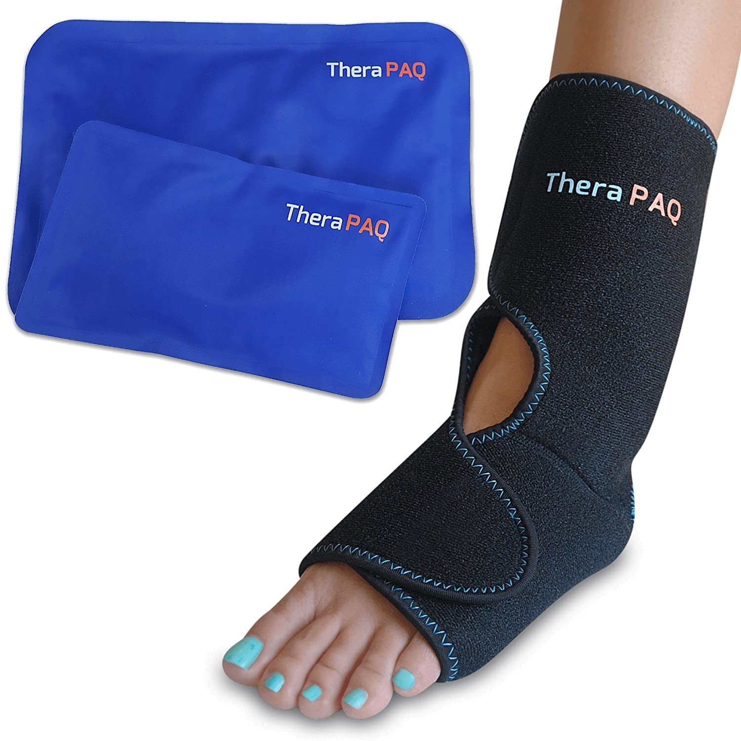 Foot & Ankle Pain Relief Ice Wrap with 2 Hot/Cold Gel Packs by TheraPAQ | Best for Achilles Tendon Injuries, Plantar Fasciitis, Bursitis & Sore Feet | Microwaveable, Freezable and Reusable (XS-XL)