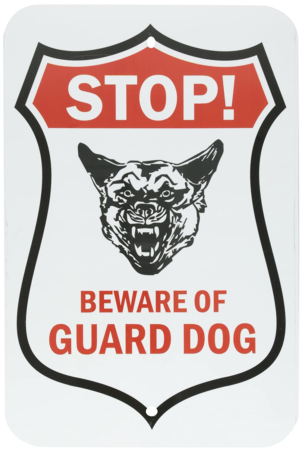 SmartSign Aluminum Sign, Legend'Stop! Beware of Guard Dog' with Graphic, 18' High X 12' Wide, Black/Red on White LegendStop! Beware of Guard Dog with Graphic 18 High X 12 Wide Lyle Signs K-7863-AL-12x18