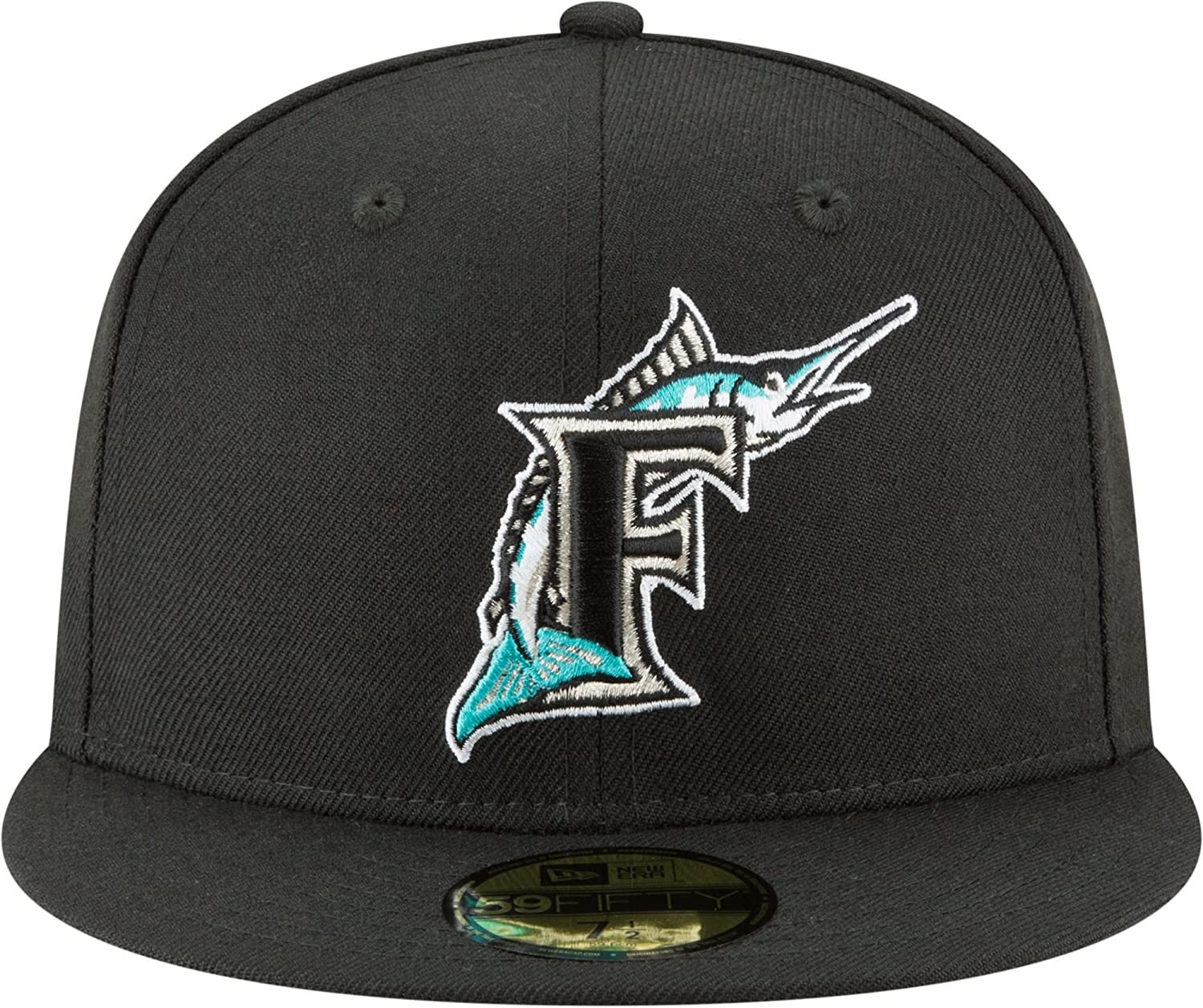 newest 61c59 fe074 Amazon.com  New Era 59Fifty Hat Florida Marlins Cooperstown 1993 Wool Black  Fitted Headwear Cap (7 5 8)  Clothing