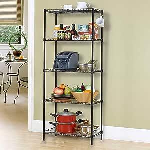 5-Tier Wire Shelving bathroom storage 5 Shelves Unit Metal kitchen Storage Rack