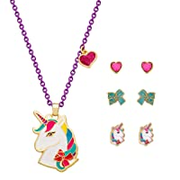 Unicorn Jewelry Gift Set for Girls, Yellow Plated Necklace with 3 Pairs of Stud Earrings