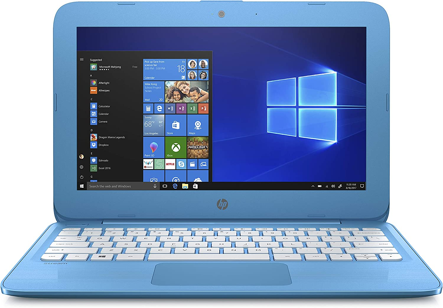 HP Stream 11-inch Laptop, Intel Celeron N3060 Processor, 4 GB SDRAM Memory, 32 GB eMMC storage, Windows 10 Home in S Mode with Office 365 Personal for one year (11-ah010nr, Aqua Blue)