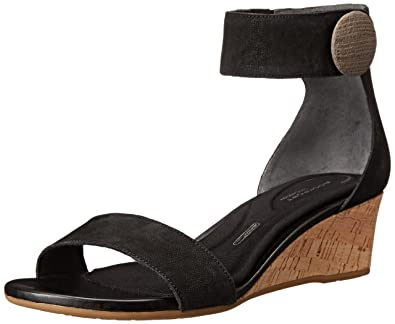 85a966aec4b Rockport Women s Total Motion 55mm Stone Ankle Strap Wedge Sandal Black  Sandal 9.5 M (B