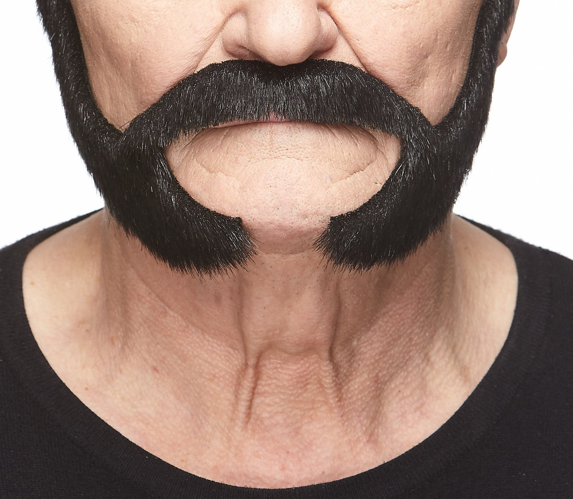 Mustaches Self Adhesive, Novelty, Fake Pedal to The Metal Beard, Black Lustrous Color