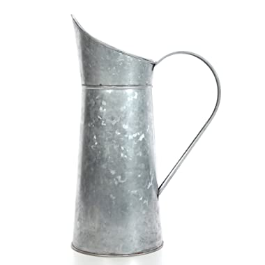 Hosley Galvanized Pitcher - 14  High, Decorative Use, Ideal Gift for Weddings, Spa, Flower Arrangements O3