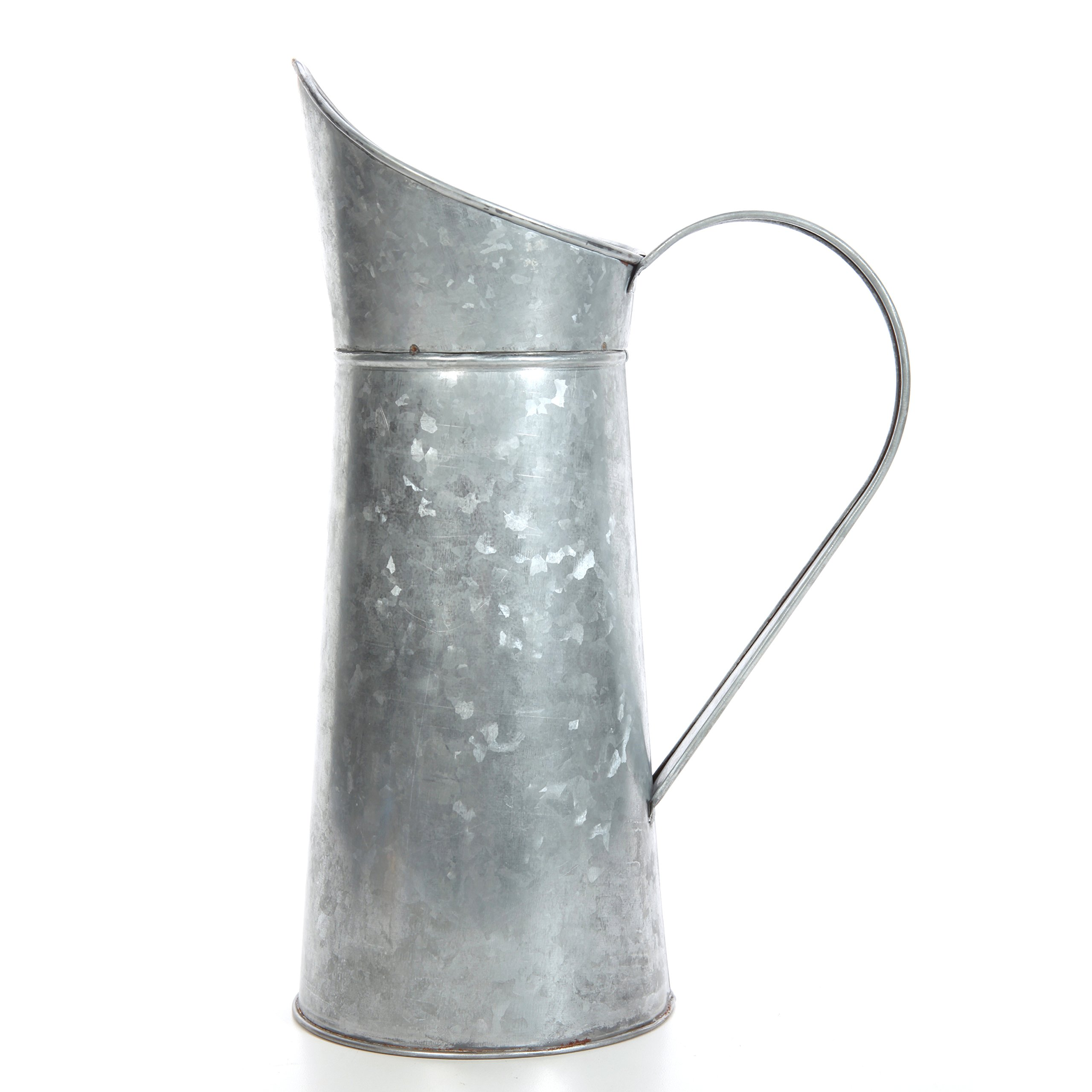 Hosley Galvanized Pitcher - 14'' High, Decorative Use, Ideal Gift for Weddings, Spa, Flower Arrangements O3