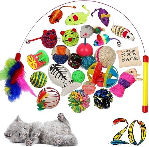 Juego de 20 juguetes de alta calidad para gatos, incluye ángel de gato, ratones rellenos, plumas, juego interactivo, accesorios para actividades de gato: Amazon.es: Productos para mascotas