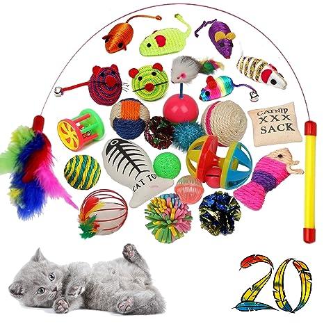 Juego de 20 juguetes de alta calidad para gatos, incluye ángel de gato, ratones