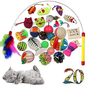 Juego de 20 juguetes de alta calidad para gatos, incluye ángel de ...