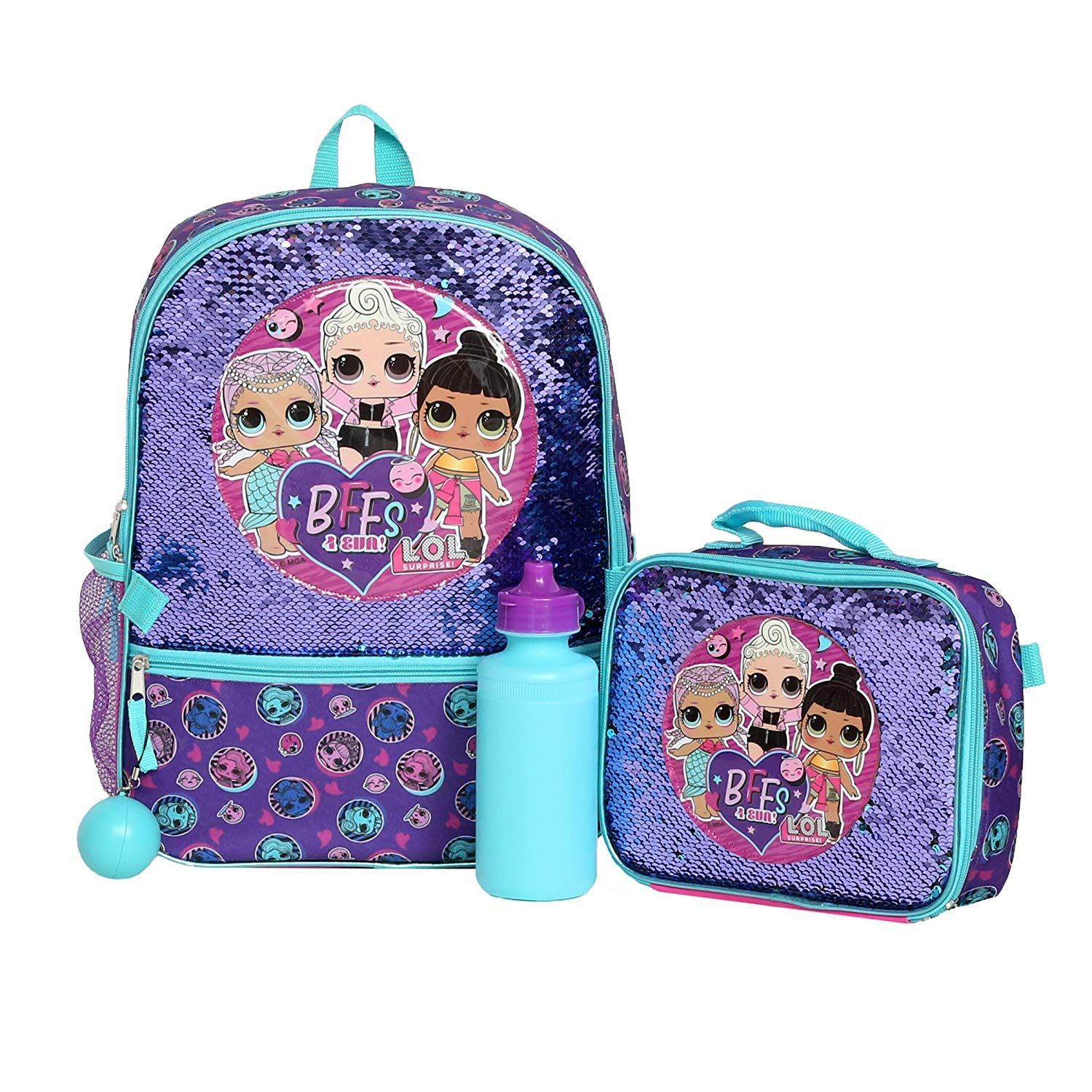 Girls 4PC L.O.L Surprise Licensed Backpack and Lunch Set