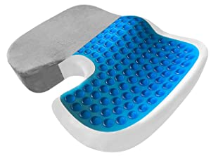 Orthopedic Seat Cushion - EXTRA LARGE Memory Foam Gel Sitting Pillow for Back Pain, Sciatica, Coccyx and Tailbone Relief - Perfect Fit for Office and Kitchen Chair, Wheelchair, Car, Truck (XL-Gray)