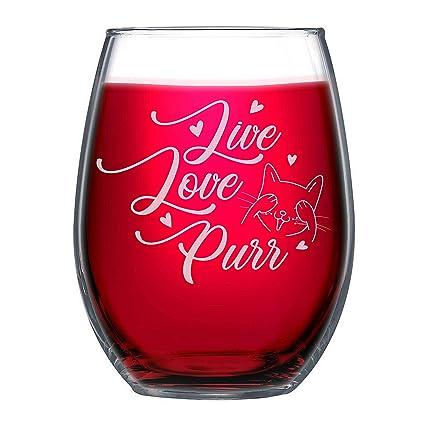 c28e129150e Amazon.com | NeeNoNex Live Love Purr Stemless Wine Glass - Cat Lover Gift -  Cat Mom: Mixed Drinkware Sets