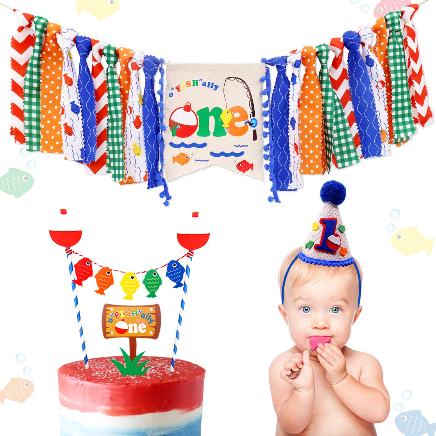 3-In-1 Gone Fishing First Birthday Party Decorations- Little Fisherman Highchair Banner The Big One Hat O''FISH''ALLY ONE Cake Topper Bobber Baby Cake Smash Milestone Photo Booth Props Supplies