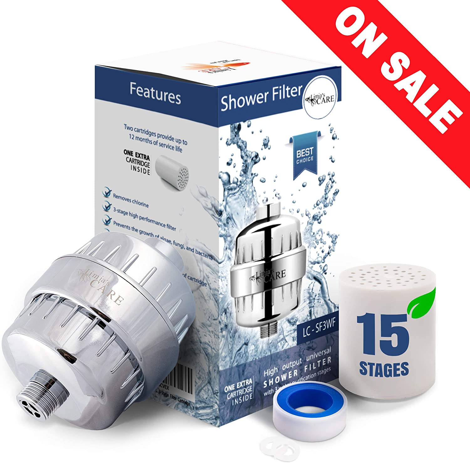 15 Stage Shower Filter - Shower Head Filter - Chlorine Filter - Hard Water Filter - Water Softener - Showerhead Filter - 2 Replaceable Filter Cartridges - Water Filter For Shower Head