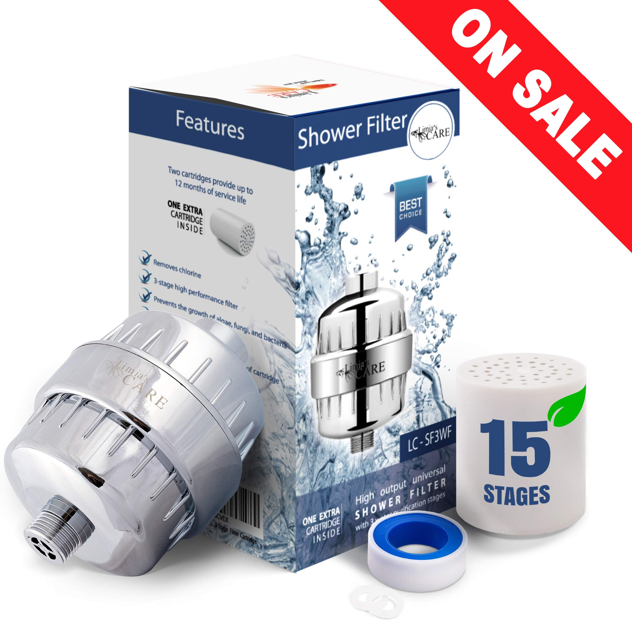 15 Stage Shower Filter - Shower Head Filter - Chlorine Filter - Hard Water Filter - Water Softener - Showerhead Filter - 2 Replaceable Filter Cartridges - Water Filter For Shower Head by Limia's Care