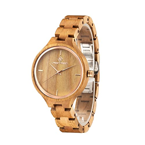 GREENTREE Sandelholz Armbanduhr Damenuhr Kirschholz Uhren Frauen Uhren
