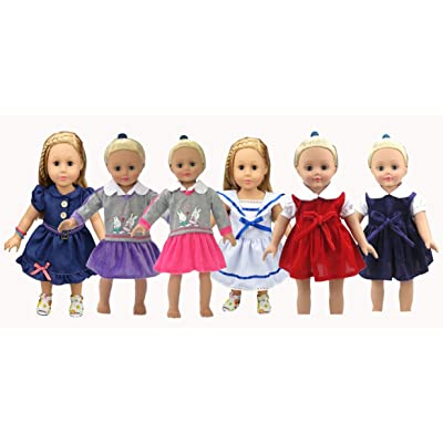 """JELEUON 6 Pcs Lot Baby Boy Girl Doll Clothes Clothing Party Dress Fits 16"""" American Girl Dolls and More: Toys & Games"""
