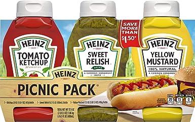 Heinz Ketchup, Relish and Mustard Picnic Pack, 3 Bottles: Amazon.es: Alimentación y bebidas