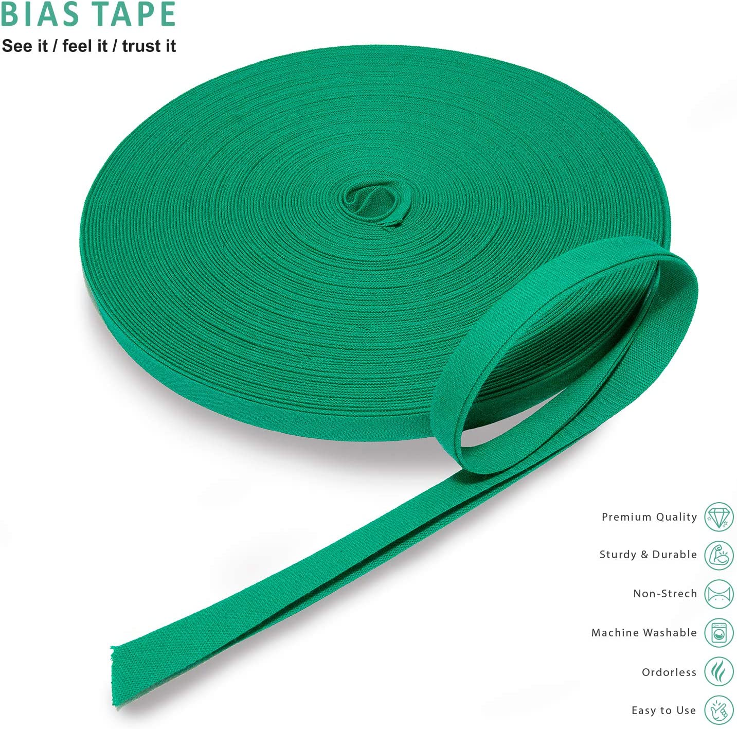 """Turquoise Pre-Folded Binding Tape Sewing Bias Binding 0.5/"""" Diameter 27 Yards Long Cotton Color Sewing Bias Tape Bias Tape for Quilting Hemming Seams and More Double Fold Bias Tape Sewing"""