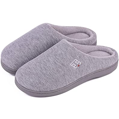20977a9c2806 Men s and Women s Classic Memory Foam Plush House Slippers