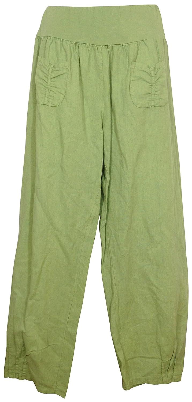 Made in Italy Gr/ö/ßen M 2 aufgesetzte Taschen vorne Gummibund Vexcon Damen Hose//Leinenhose aus luftigem angenehm zu tragendem Leinen bequemer Schnitt 5XL