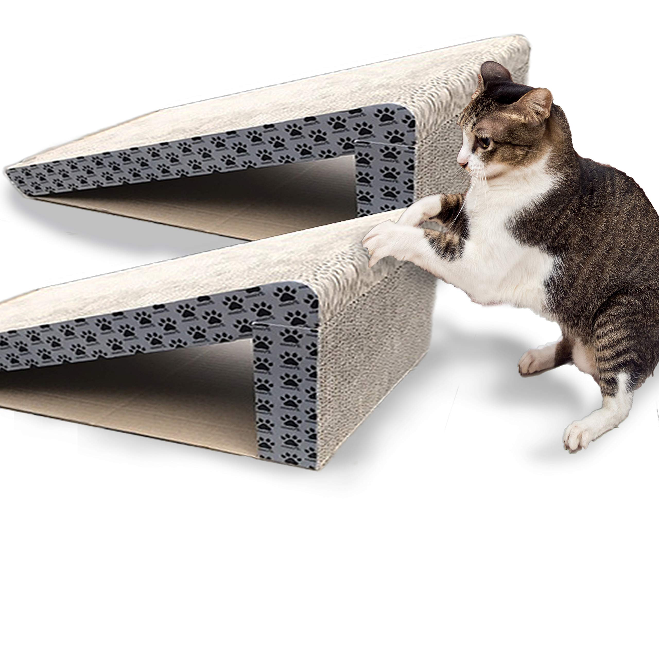 iPrimio Cat Scratch Ramps (2 Ramps for One Price) - Foldable for Travel and Easy Storage - Great for Cats Playing Over, Laying, and Scratching - Patent Pending Design (2 Pack) by iPrimio