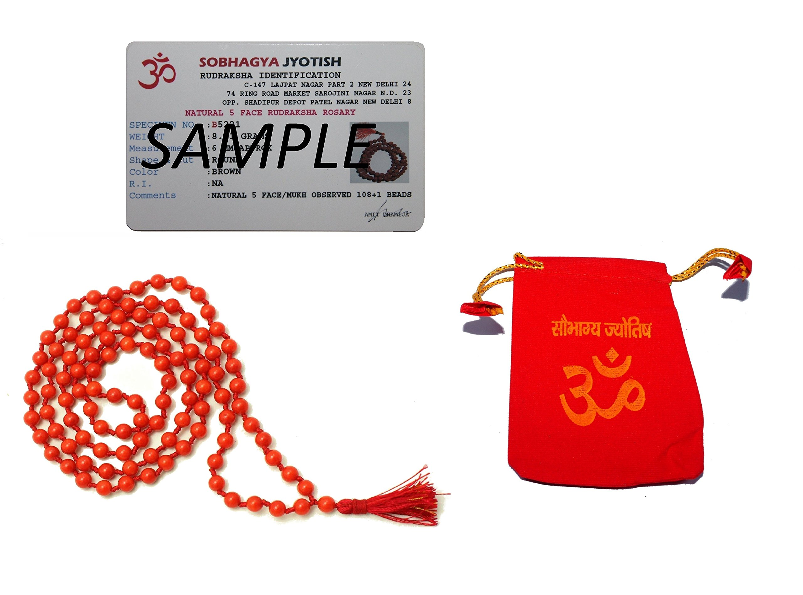 IndianStore4All Certified Natural Coral Rosary Mala (Moonga Ki Mala) (108+1) 8mm Beads by Generic