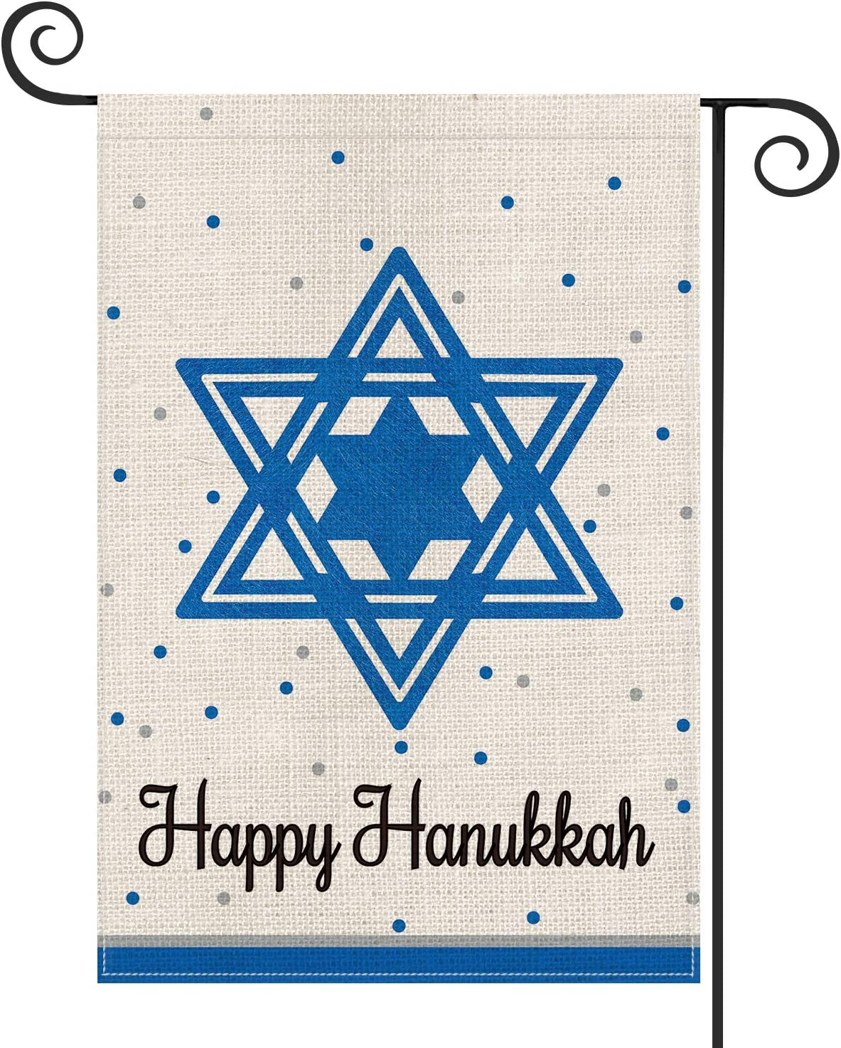 AVOIN Happy Hanukkah Star of David Garden Flag Vertical Double Sized, Jewish Yard Outdoor Decoration 12.5 x 18 Inch