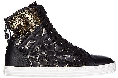 Chaussures baskets sneakers hautes femme en cuir r182 allacciato cinturino Hogan Rebel RvSgz33AJ