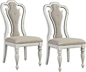 Liberty Furniture Industries Magnolia Manor Splat Back Upholstered Side Chair (RTA) (Set of 2), White