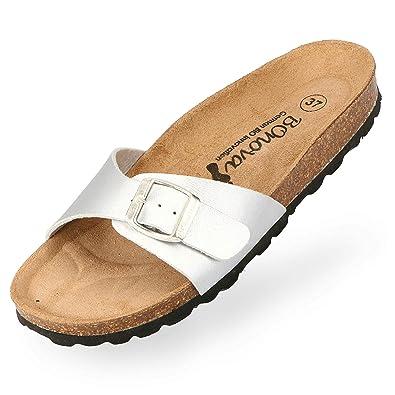 BOnova Damen Pantoletten Teneriffa in 10 Farben, modischer Einriemer mit Korkfußbett - komfortable Sandalen zum Wohlfühlen -