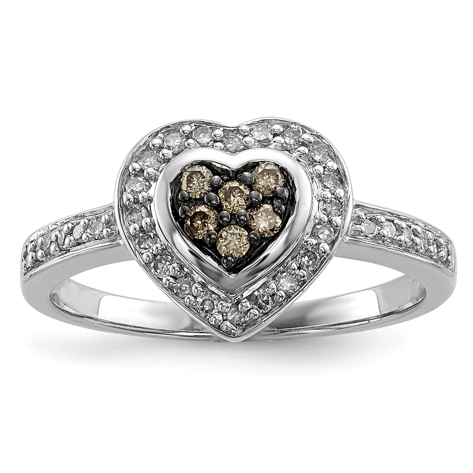 ICE CARATS 925 Sterling Silver Champagne Diamond Small Heart Band Ring Size 8.00 S/love Fine Jewelry Gift Set For Women Heart
