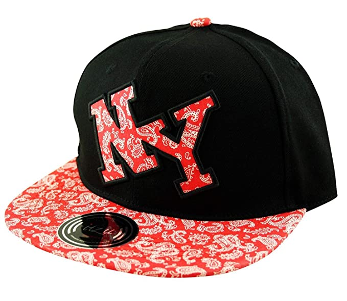 Amazon.com  Itzu Snapback Baseball Cap Hat Bandana Paisley Print NY ... e9cdc042bd2
