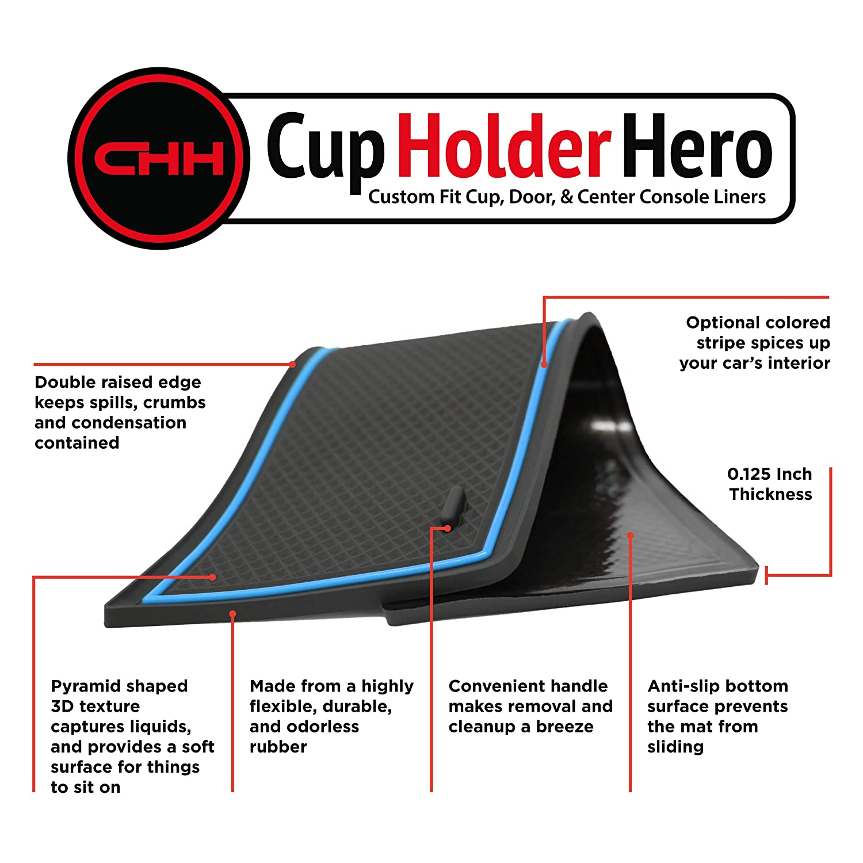 CupHolderHero for Toyota Corolla 2020 Custom Liner Accessories and Door Pocket Inserts 11-pc Set Blue Trim Premium Cup Holder Console Sedan