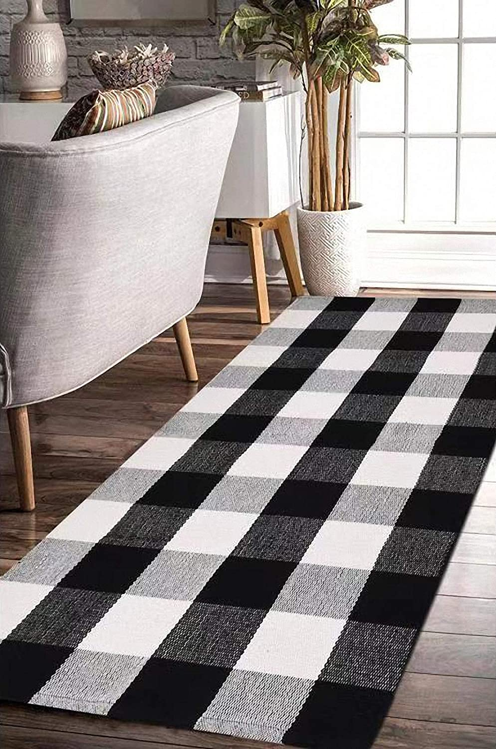 EARTHALL Cotton Buffalo Black and White Plaid Rugs, Hand-Woven Checkered Carpet, Washable Kitchen/Frontdoor/Living Room/Laundry Room/Bathroom/Bedroom Mat (23.6''x70.8'')