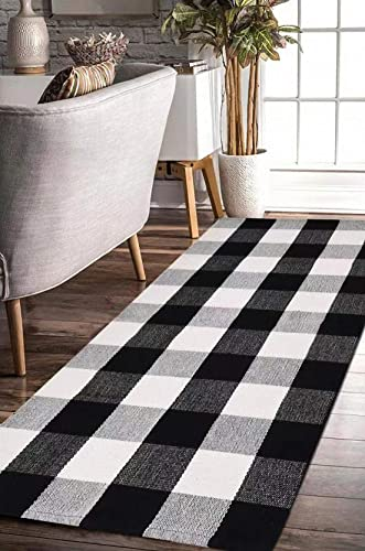 EARTHALL Cotton Buffalo Black and White Plaid Rugs, Hand-Woven Checkered Carpet, Washable Kitchen Frontdoor Living Room Laundry Room Bathroom Bedroom Mat 23.6 x70.8