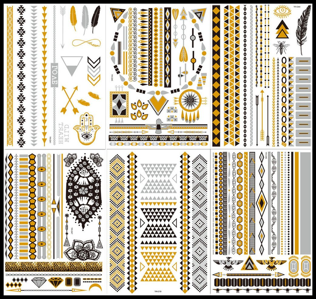 New Release, Dalin 6 Sheets Gold Silver Black Body Jewelry Temporary Metallic Tattoos Adult Temp Metallic Glitter Art FlashTattoos Long Lasting, Trendy Tattoo Designs - Angel Wings, Feather, Arrows and More