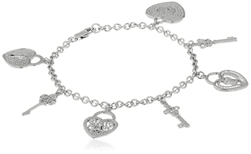 Sterling Silver Diamond Accent Heart Locks and Keys Charm Bracelet, 7.5