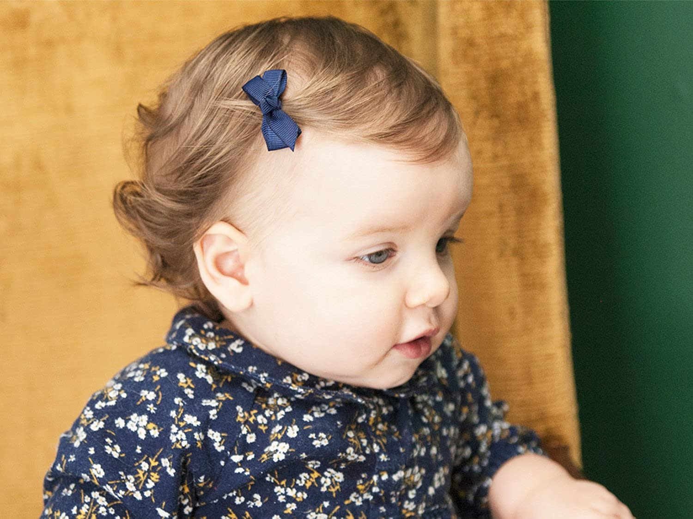 Baby Wisp Infant Mini Latch Clip Grosgrain Boutique Hair Bows Baby Girls Newborn