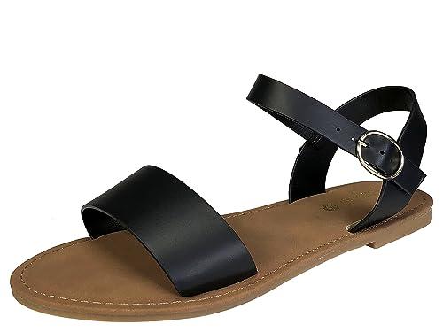 a7cc42e61d09bb BAMBOO Sunny Feet Women s Single Band Flat Sandal with Quarter Strap