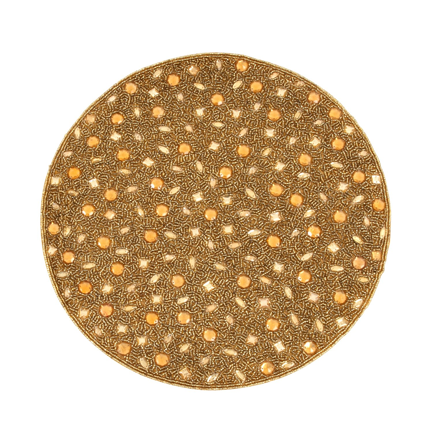 SARO LIFESTYLE 442.GL15R 4-Piece Beaded Design Placemat Set, 15-Inch, Gold, Round