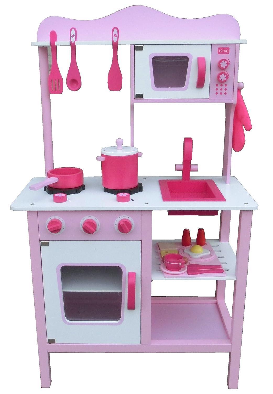 Kinderküche Spielküche PINK ROSA aus Holz mit Zubehör: Amazon.de ...